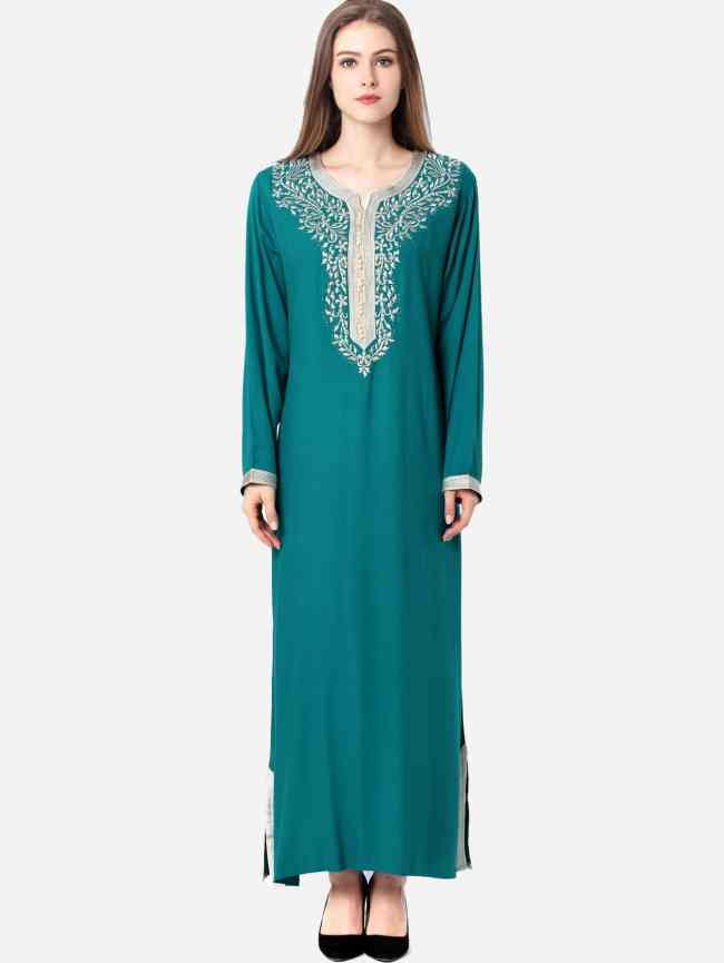 SheIn Contrast Trim Embroidered Slit Hem Long Hijab Dress