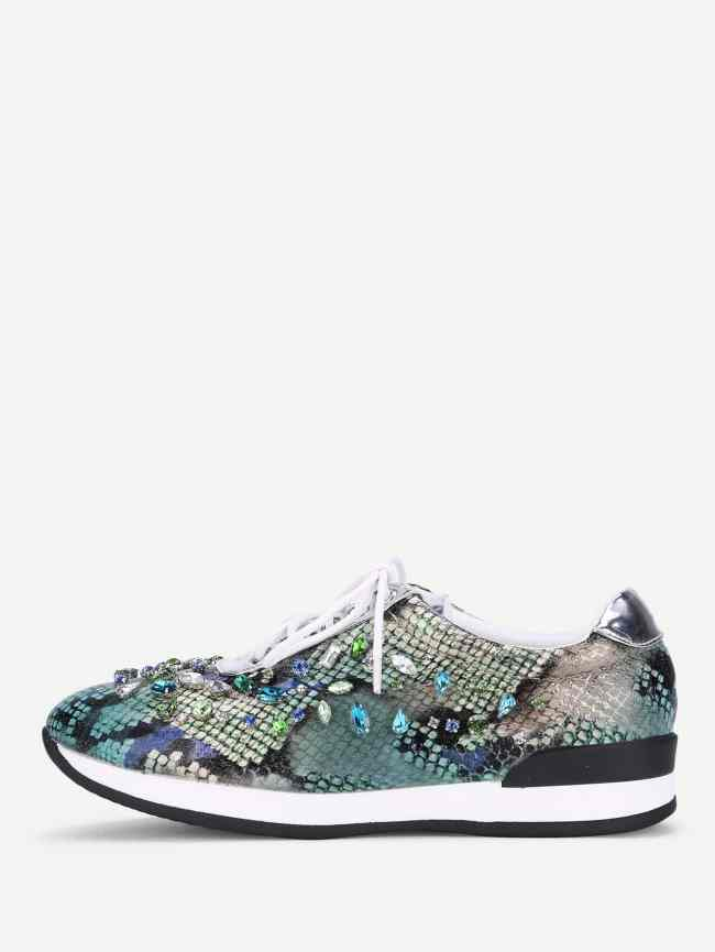SheIn Rhinestone Decorated Lace Up Sneakers
