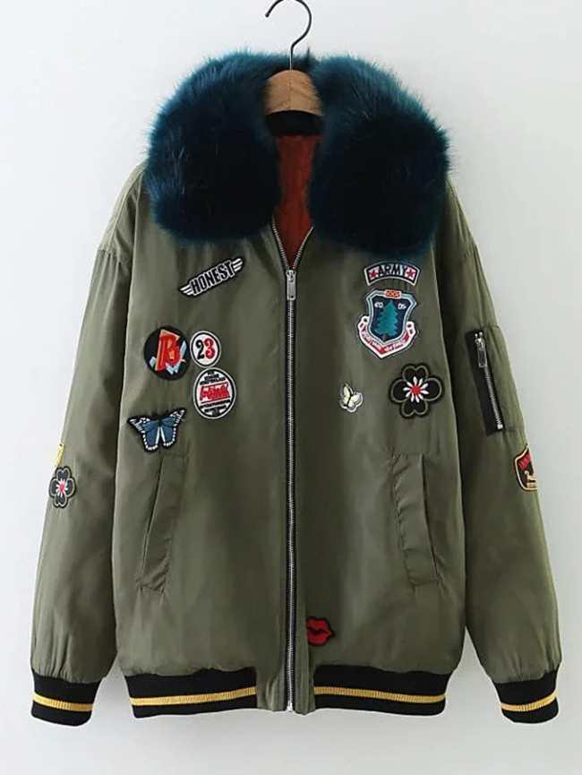 SheIn Patch Embellished Faux Fur Flight Jacket