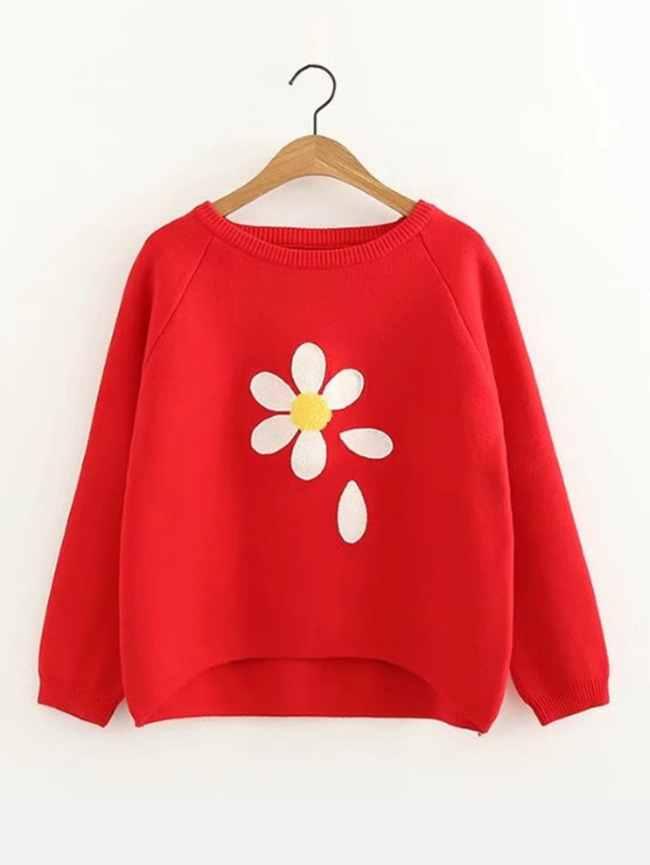 SheIn Raglan Sleeve Dip Hem Flower Sweater