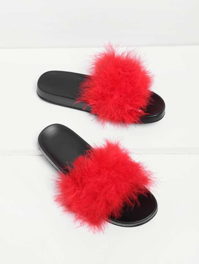 SheIn Faux Fur Design Slip On Sandals