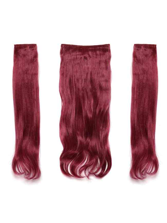 SheIn Burgundy Clip In Soft Wave Hair Extension 3pcs