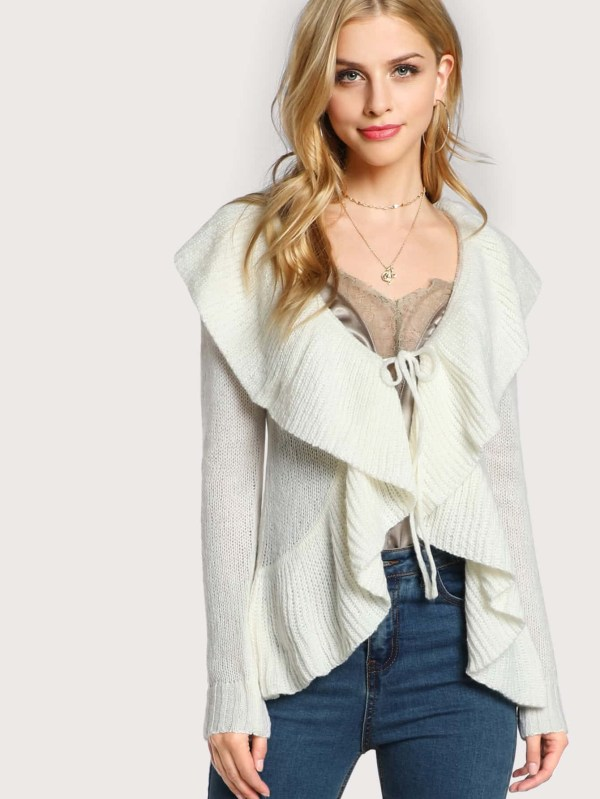 Front Ruffle Long Sleeve Knittd Sweater Ivory -shein