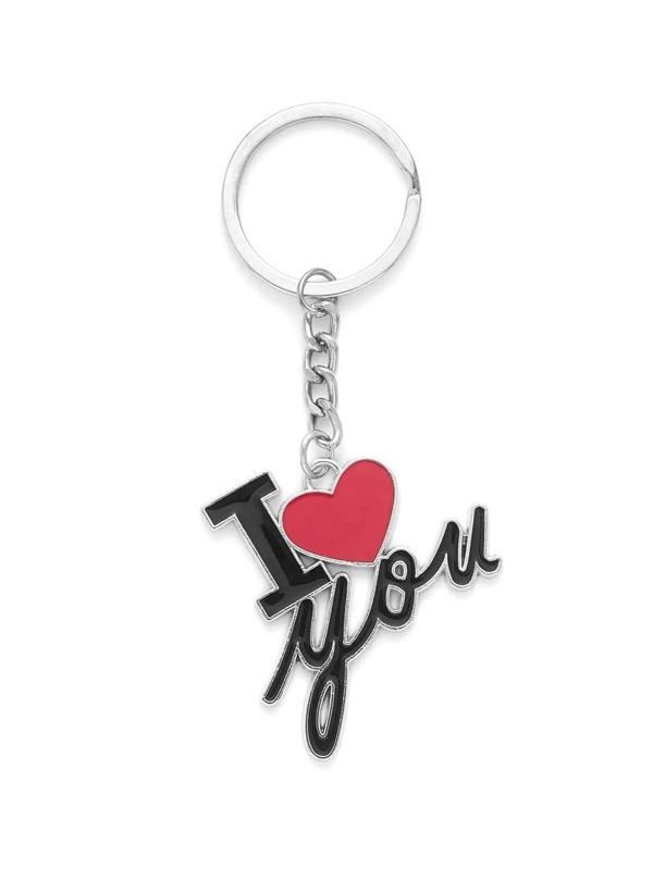 letter heart design keychain