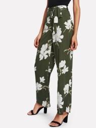Pantalons ample imprimé des fleurs