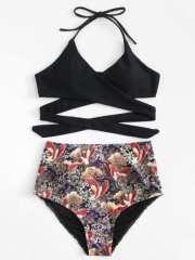 Ensemble de bikini croisé imprimé mixte