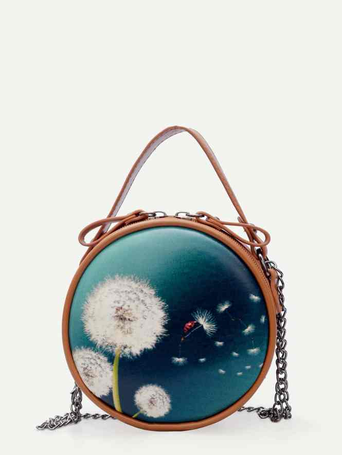 Dandelion Print Zip Around Chain Bag