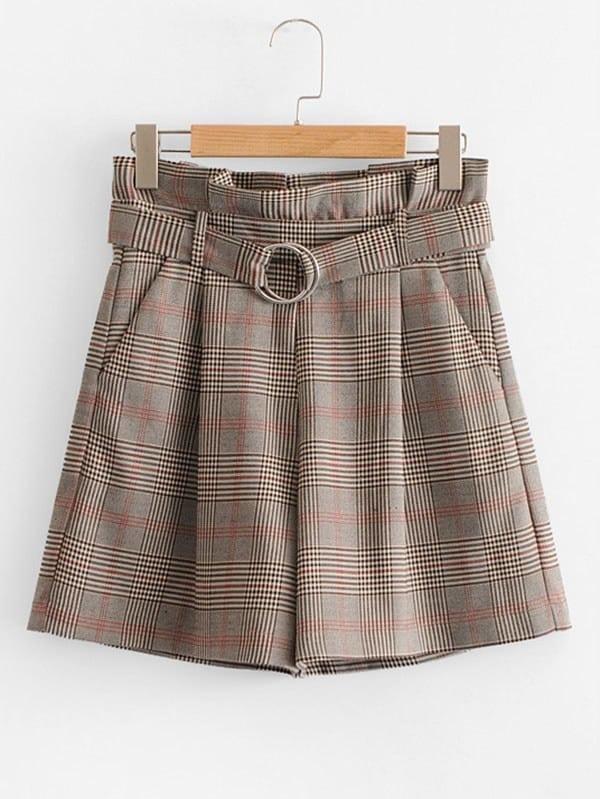 Glen Plaid Belted Shorts