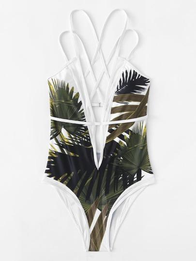 Maillot de bain croisé imprimé de jungle