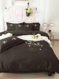 Flower Embroidery Bedding Set -SheIn(Sheinside)