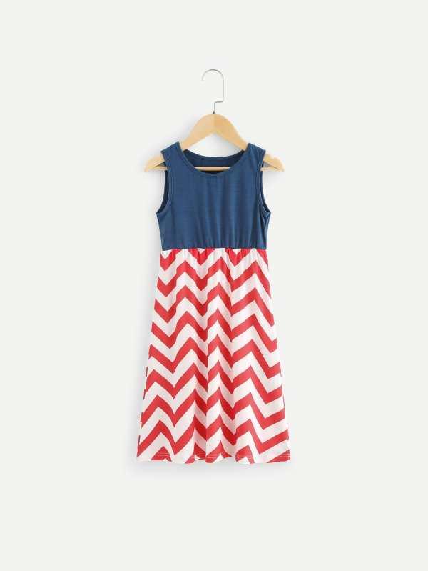 Toddler Girls Contrast Chevron Print Dress Shein Uk