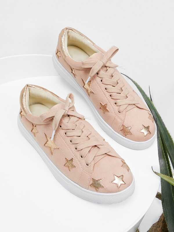 39 awesome sneakers that you should have , Metallic Star Lace Up Sneakers,summer style ,shorts #summerwear #summerstyle #summeroutfit