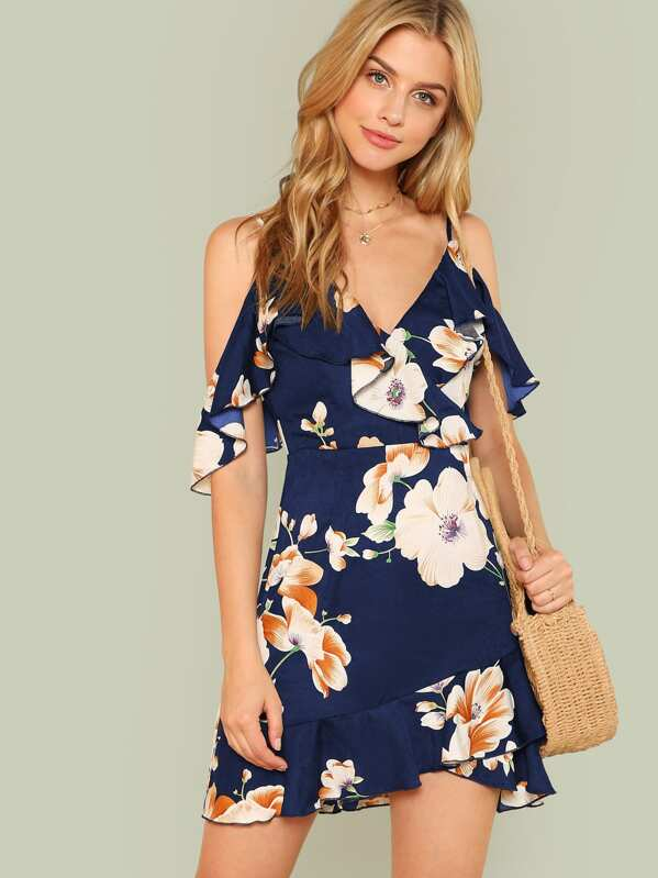Flounce Cold Shoulder Ruffle Hem Floral Dress