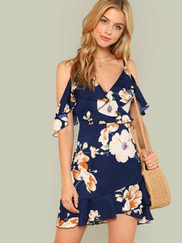Flounce Cold Shoulder Ruffle Hem Floral Dress