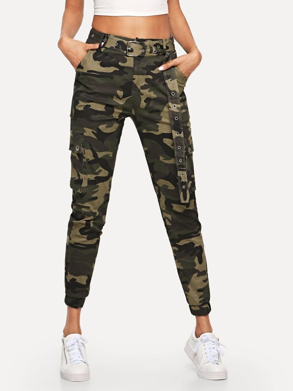 camo pocket belted trousers