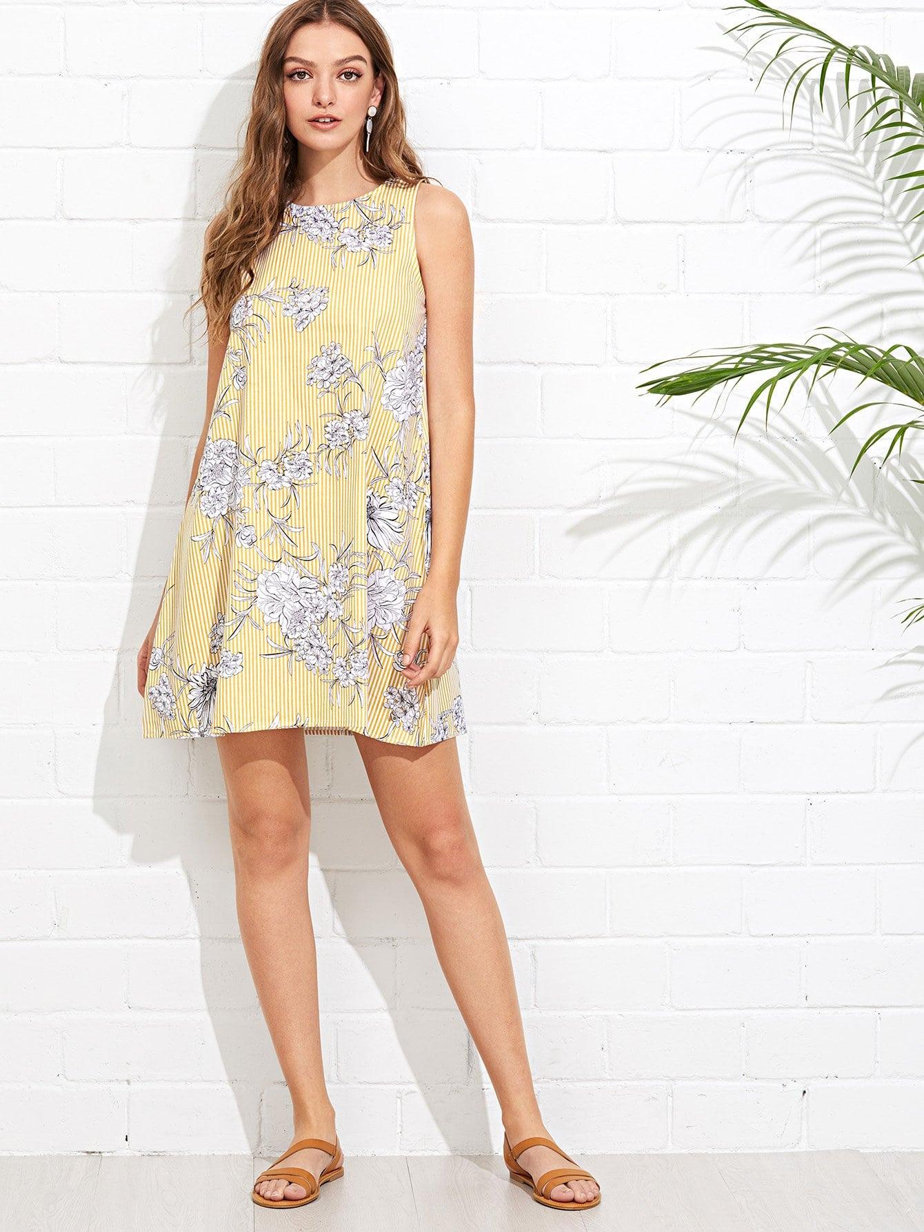 休閒花紋黃色洋裝 | SHEIN