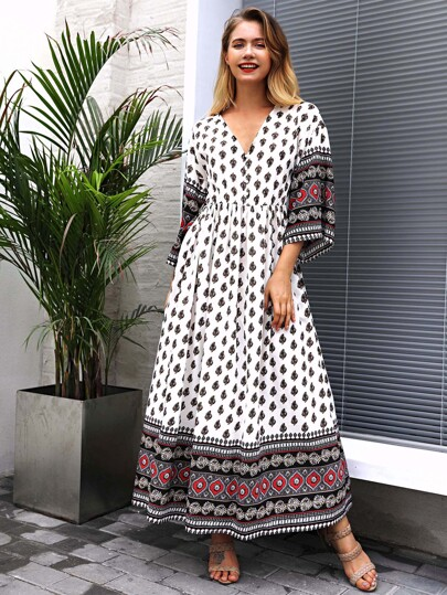v Neckline Geo Print Dress