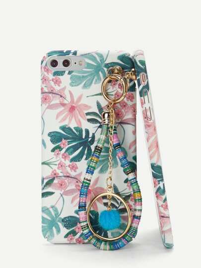 Circle Pendant iPhone Case With Charm Palm Tree Print Tropical Pretty