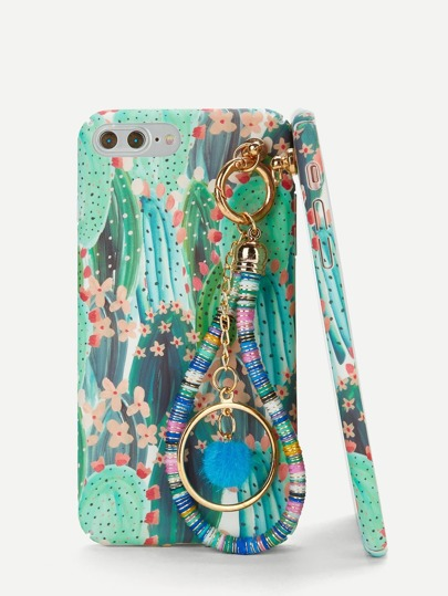 Cactus Print iPhone Case With Charm Tropical Green Pretty