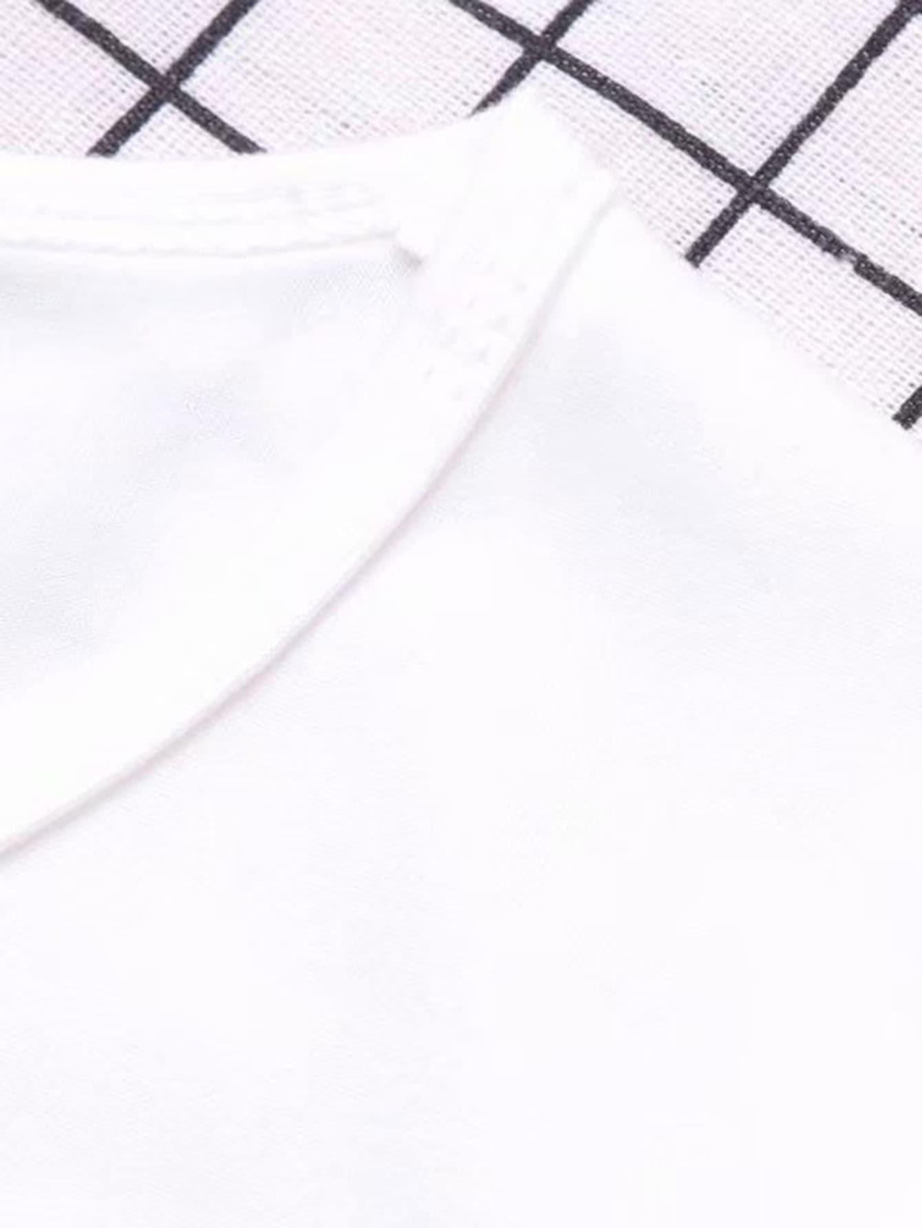 T-shirt basique unicolore-French SheIn(Sheinside)