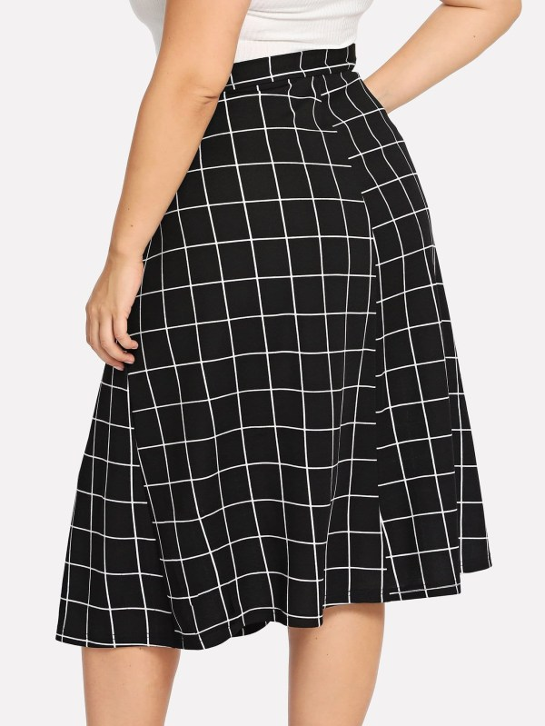 Single Breasted Plaid Skirt Romwe
