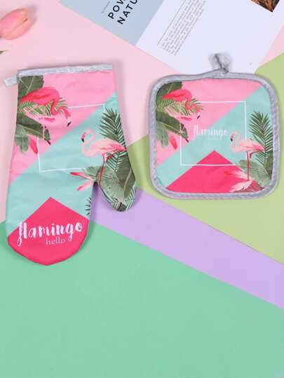 Flamingo & Tropical Print Oven Glove 1pc & 1pc Pad. Kitchen Home Decor