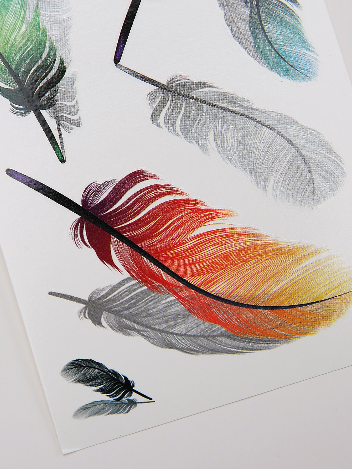 Color Block Feather Pattern Tattoo Sticker