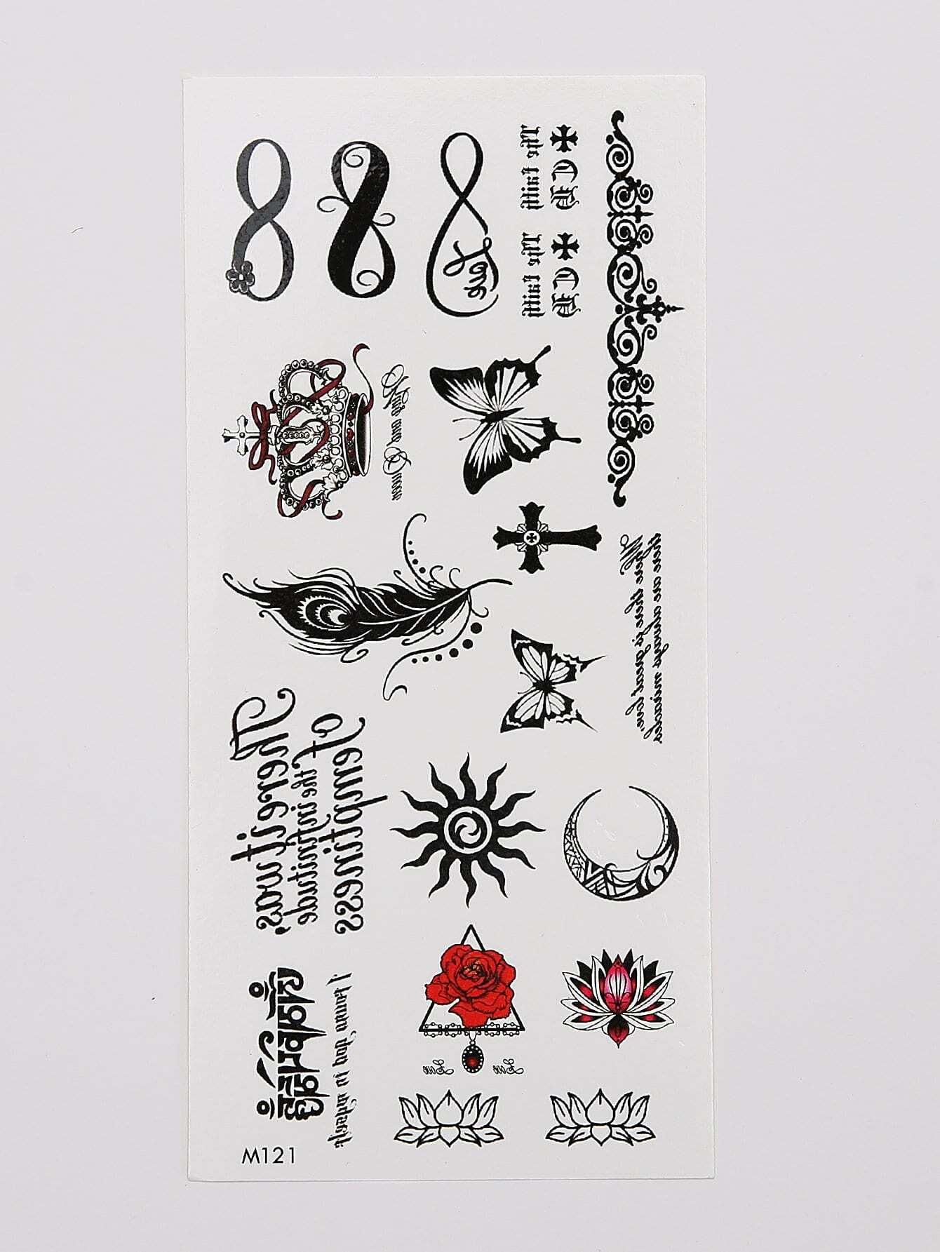 Feather Amp Butterfly Tattoo Sticker Romwe