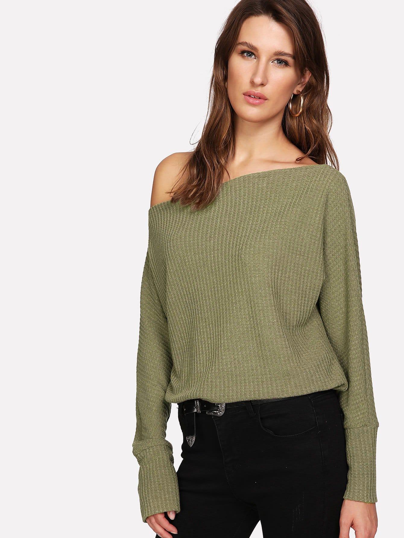 軍綠色休閒簡約針織衫 | SHEIN臺灣