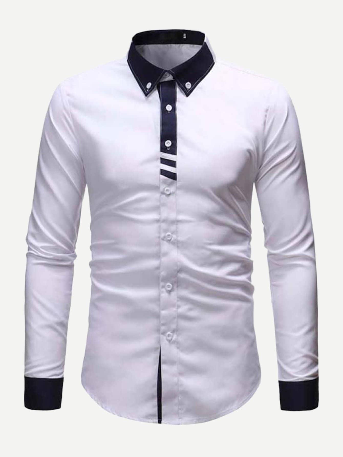 白色休閒男士襯衫丨 SHEIN香港