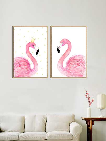 Flamingo Print Wall Art 2pcs. Flamingos Home Decor Pictures