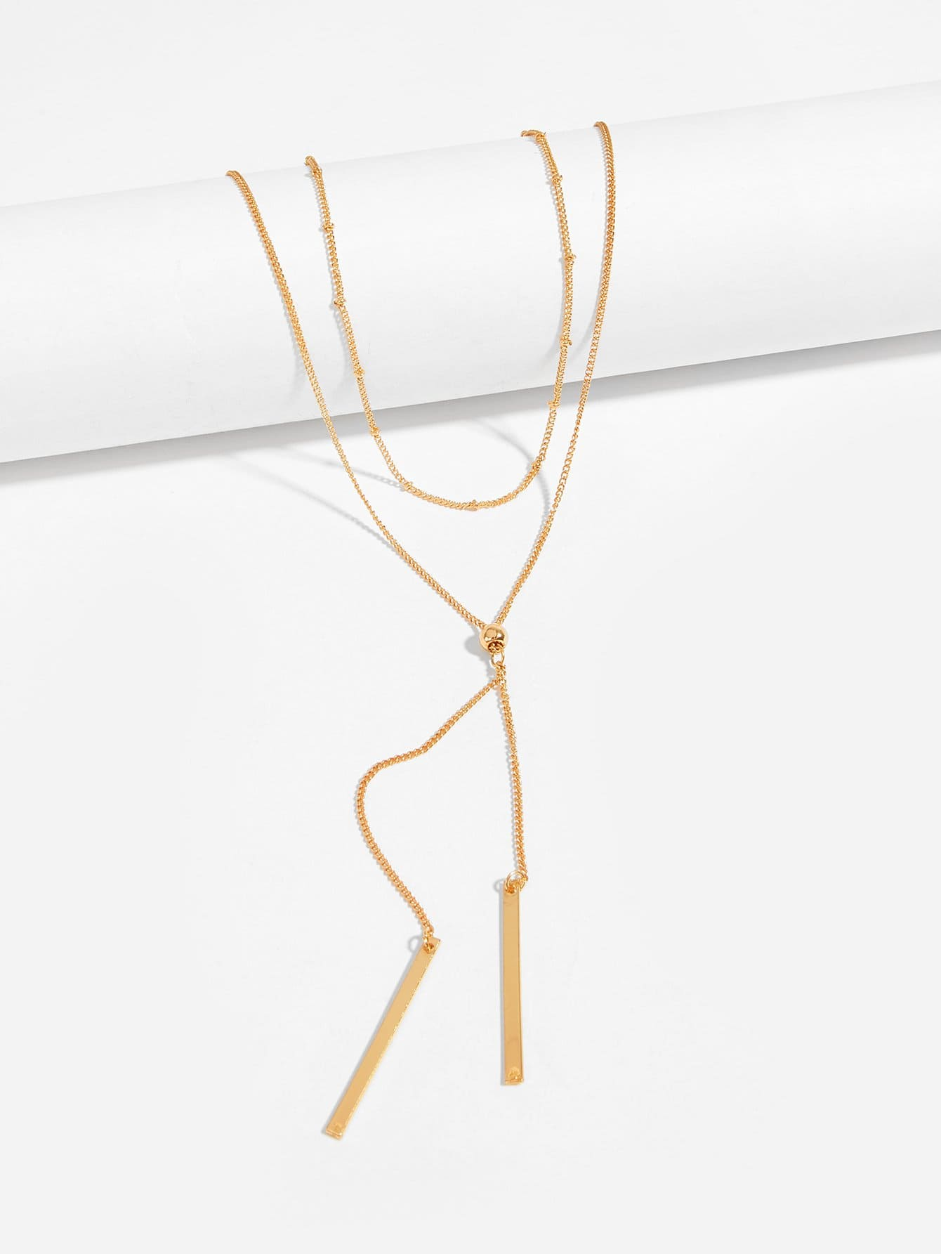 Bar Pendant Lariats Layered Chain Necklace