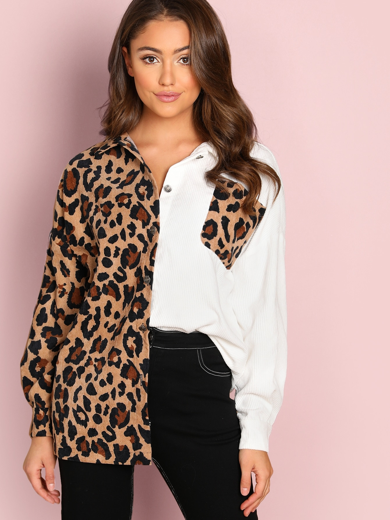 Cheap Leopard Print Pocket Patched Corduroy Jacket For