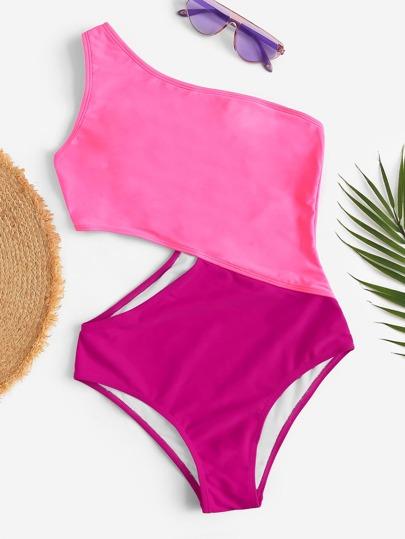 Two Tone One Shoulder One Piece Swimwear