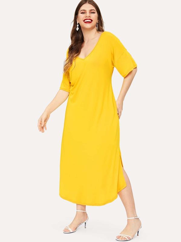 Plus Neon Yellow Slit Hem Tee Dress