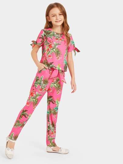 Girls Bow Cuff Tropical  Print Top & Belted Pants Set Vacation Pink Tie Outfit