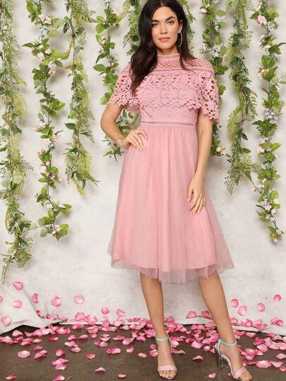 Guipure Lace Overlay Mesh Hem Prom Dress Pink Lace Wedding Bridesmaid