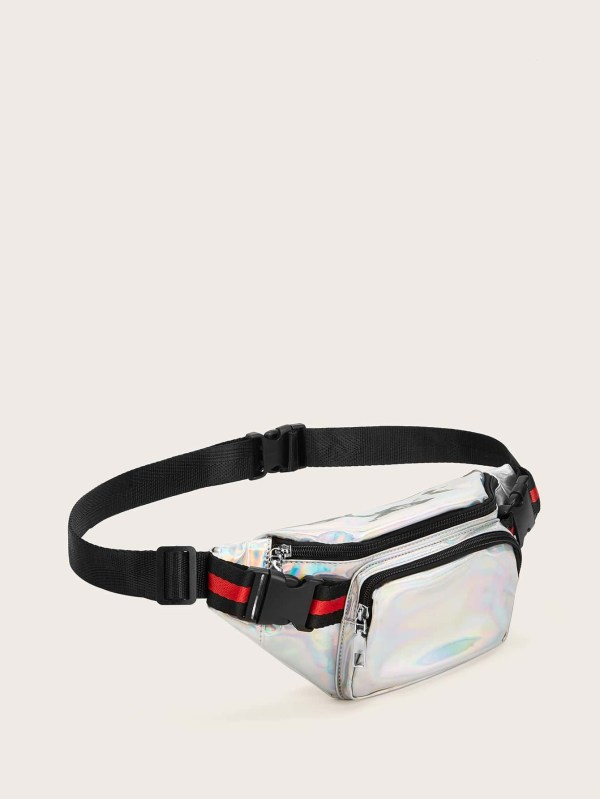 Pocket Front Iridescent Fanny Pack Romwe