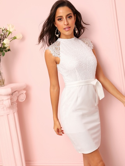 lace top embroidered white wedding dress short with tie