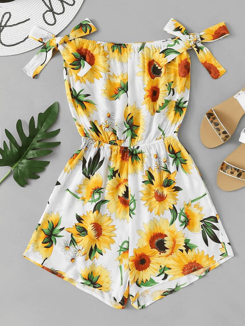 Plus Sun Flower Print Romper