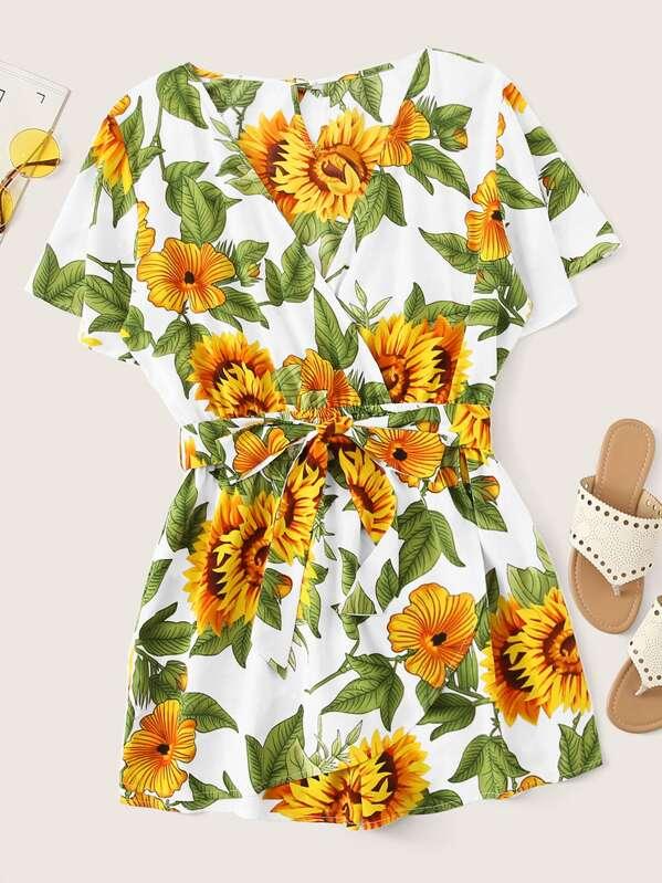 Plus Sunflower Print Surplice Front Self Tie Romper