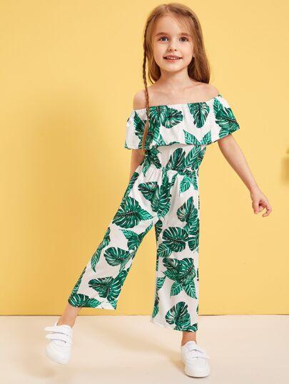 Toddler Little Girls Tropical Print Ruffle Blouson Jumpsuit Vacation