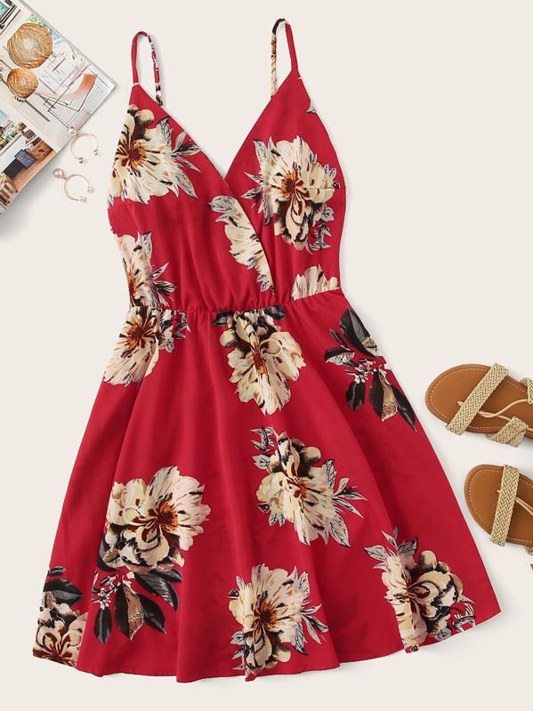 Floral Print Surplice Front Cami Dress