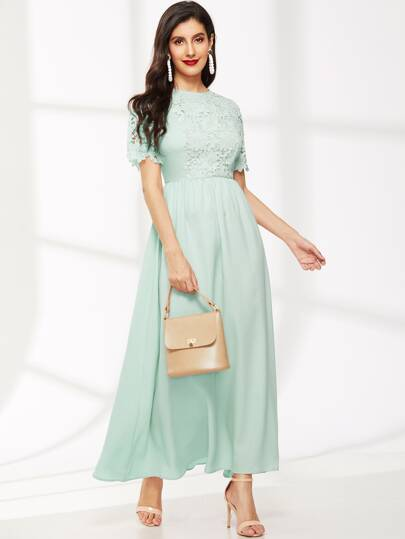 Zip Back Lace Applique Fit & Flare Dress Mint Green Blue Teal Turquoise Wedding Bridesmaids