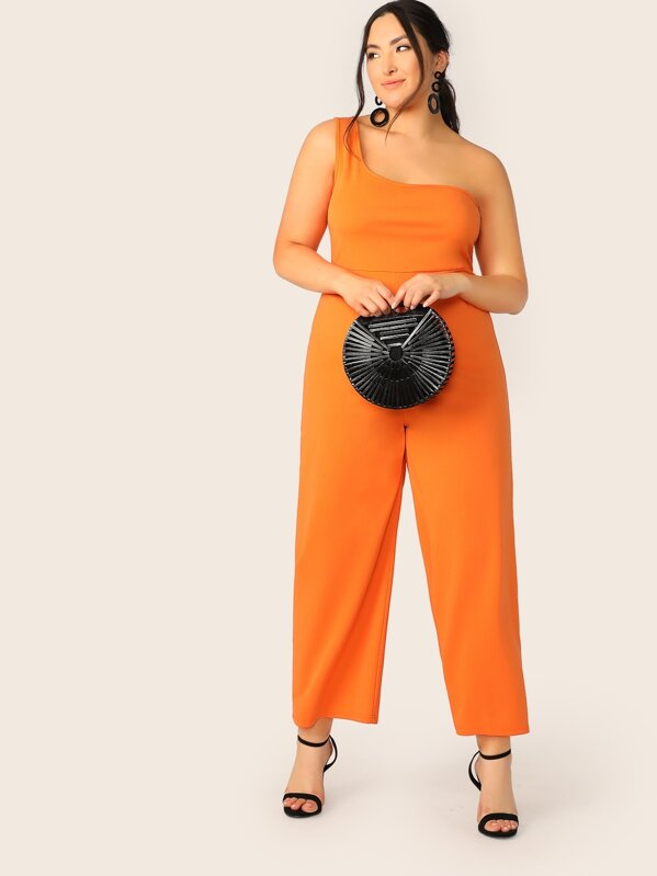 Plus Neon Orange One Shoulder Wide Leg Jumpsuit
