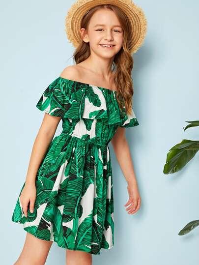 Girls Off Shoulder Ruffle Foldover Tropical Print Dress Green Tropical Print Vacation Dresses