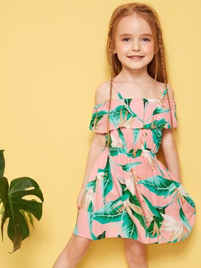 Toddler Little Girls Jungle Print Cold Shoulder Dress Pink Green Vacation
