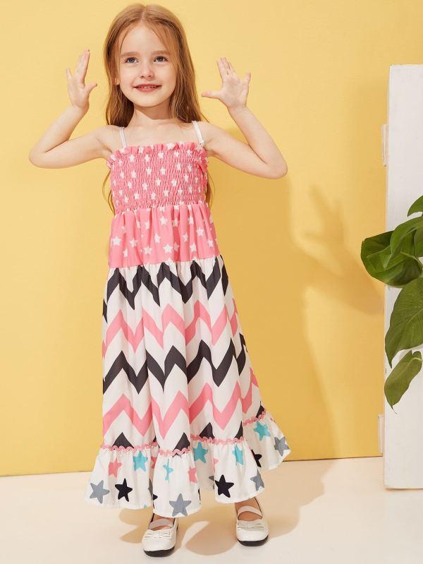 Toddler Girls Chevron Print Shirred Cami Dress Shein Uk