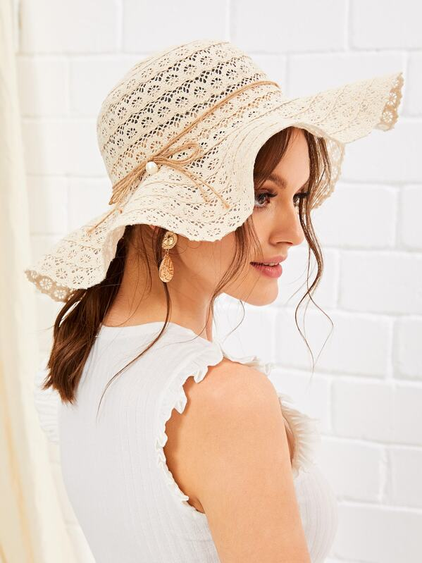 Faux Pearl Detail Hollow Floppy Hat