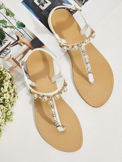 Faux Pearl Decor Toe Post Sandals Beach Wedding Shoes Summer Buckle